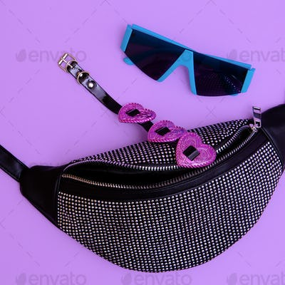 Fashion clutch and accessories choker and sunglasses