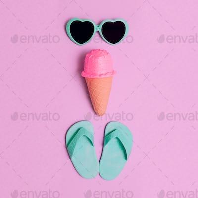Vacation set. Ice cream, flip-flop, sunglasses. Minimal flat lay