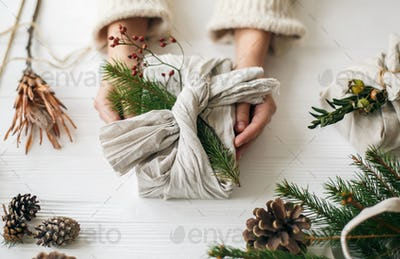 Florist preparing zero waste Christmas gift