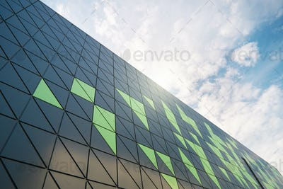 Modern building detail at blue sky.