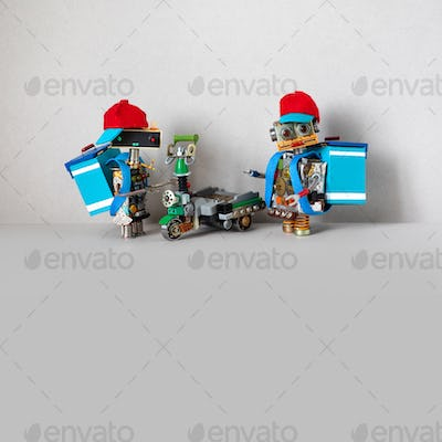 Pizza food delivery service. Robots couriers and electric scooter. copy space on gray background