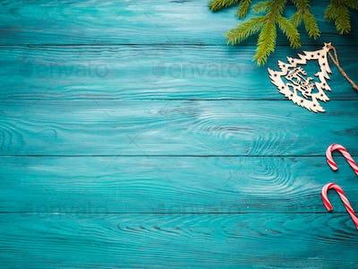 Christmas dark green wooden background