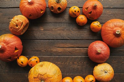 Tangerines And Pumpkins On Table Flat Lay