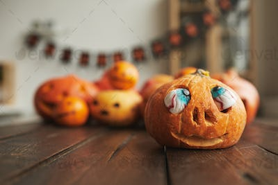 Carved Pumpkin With Scary Eyes