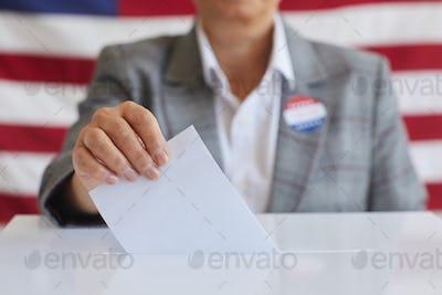 Mature Woman Voting Close Up