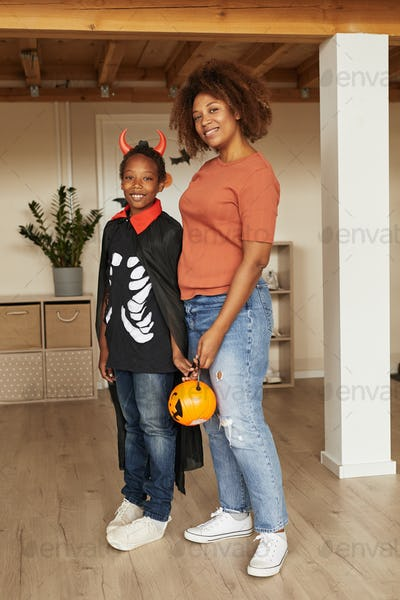 Mom And Kid Prepared For Halloween