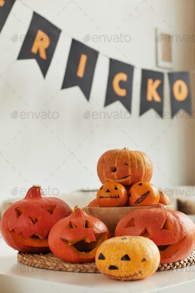 Pumpkins And Tangerines Prepared For Halloween