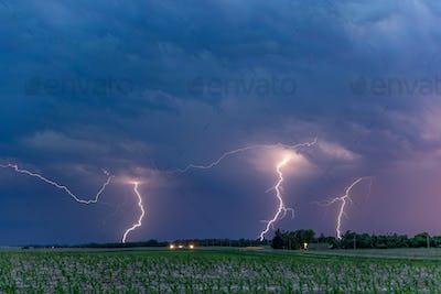 Dramatic Lightning at Night