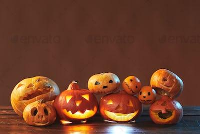Jack O' Lantern Pumpkins And Tangerines