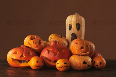 Pumpkins, Gourds And Tangerines For Halloween