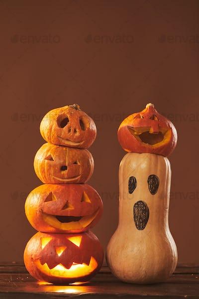 Pumpkins And Gourds Halloween Composition