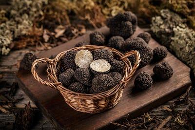 Expensive black truffles gourmet mushrooms