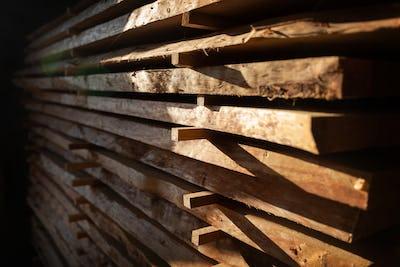Cut wooden boards at woodworker workshop