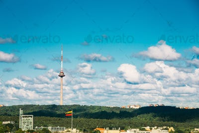 Vilnius, Lithuania. View Of Vilnius TV Tower, Center of Broadcasting and Data Services in Lithuania