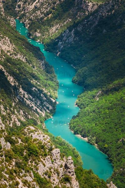 Verdon Gorge, Lake of Sainte-Croix, France. Top View OF Lake. South-eastern France. Provence-Alpes
