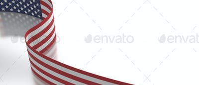 USA flag flyer on white background, copy space, card template. 3d illustration