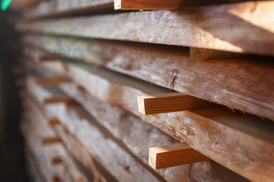 Stack of cut wooden boards
