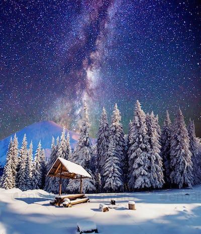 starry sky in a fantastic mountain village