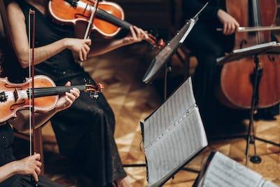 Elegant string quartet playing in luxury room