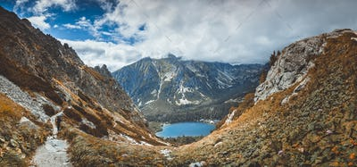 Strbske Pleso lake in the valley. The Tatras