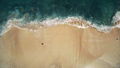Aerial Top Drone View on Ocean Waves