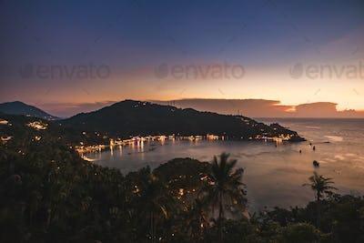 Thailand ocean bay, beach light aerial seascape at tropic resort Tanote Gulf, Koh Tao Island, Asia