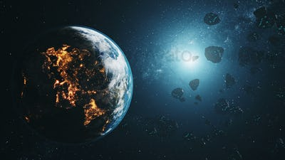 black asteroids fly by realistic planet Earth