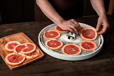 Putting grapefruit slices on dehydrator tray