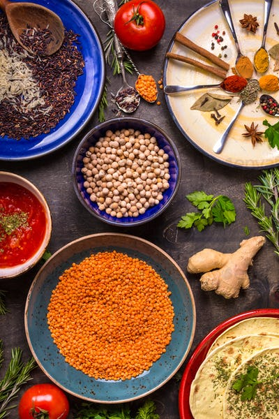 Ingredients for indian or eastern cuisine