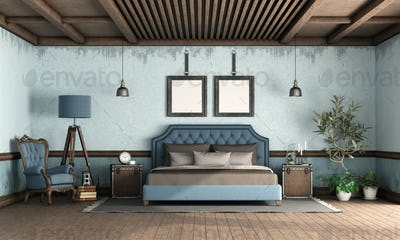 Blue retro bedroom with classic style double bed