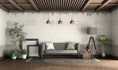 Retro style living room with elegant sofa