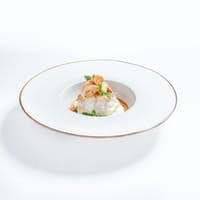 Luxurious dish with fish and seafood