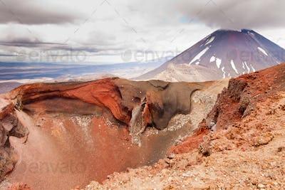 Active volcanoe cone of Mt Ngauruhoe New Zealand