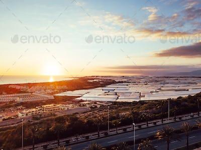 Almerimar, Almeria, Spain. Aerial view at sunset