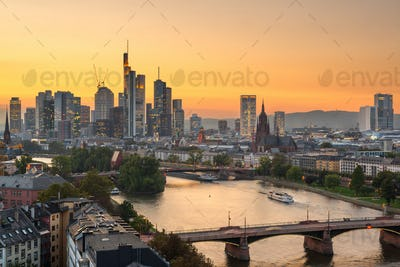 Frankfurt, Germany skyline over the Main River