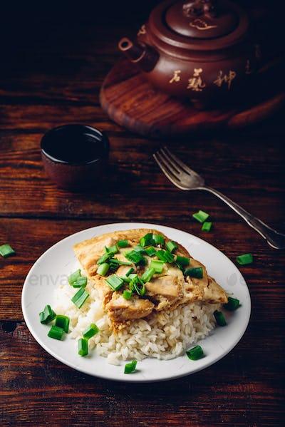 Oyakodon dish on white plate