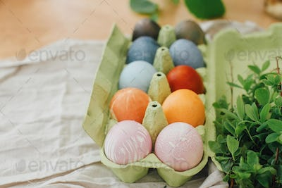 Natural dye easter eggs in carton tray on wooden table flat lay