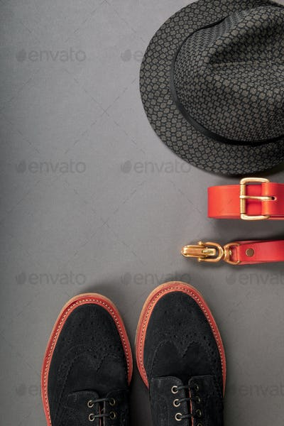 Men accessory, outfiton grey background, flat lay