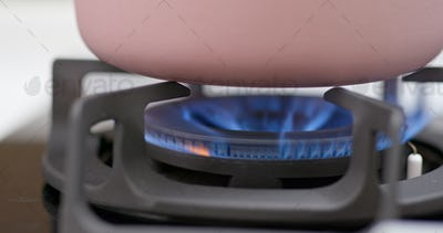 Gas cooking stove at home