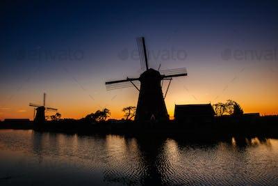 Starry sky over Dutch mills.
