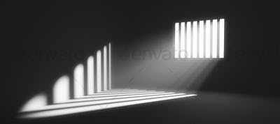 Light behind prison cell bars. Jail punishment and imprisonment