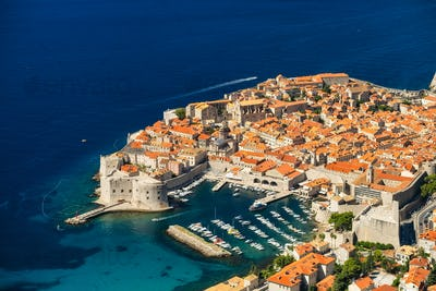 Dubrovnik, Croatia. View on the old town from high mountain.