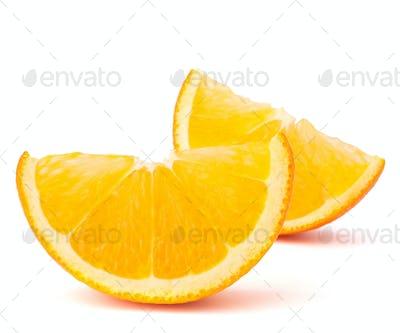 Two orange fruit segments or cantles