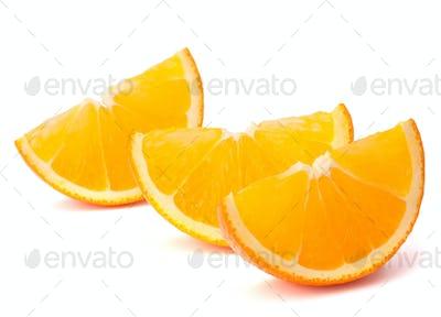 Three orange fruit segments or cantles