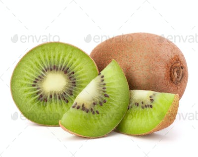 Whole kiwi fruit and his sliced segments