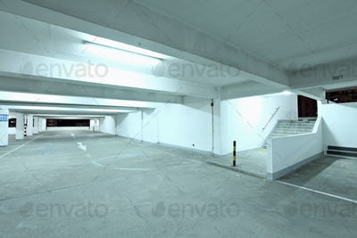 Interior of empty parking lot at