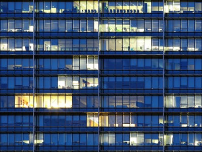 Exterior of office building at night