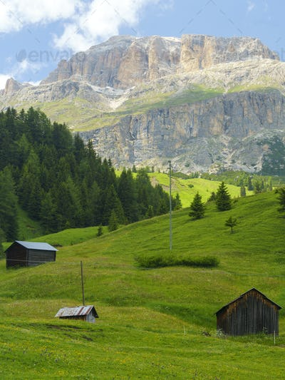 Mountain landscape along the road to Pordoi pass, Dolomites