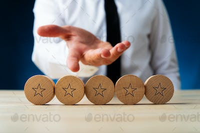 Five wooden cut circles with stars on them
