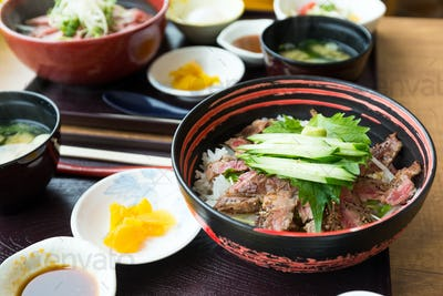 Japanese meal, beef set